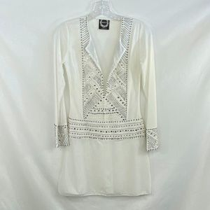 NWOT HOLT Miami White Embellished Coverup - S